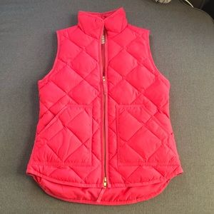 J. Crew hot pink zip down quilted vest XXS